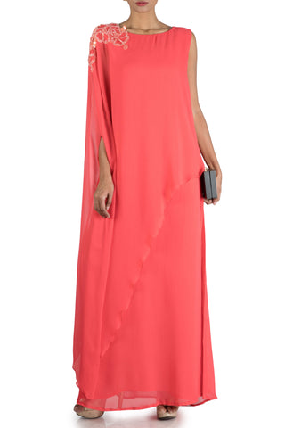 Bright Peach Long Cape Tunic Front