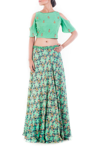 Lime Green Cold Shoulder Crop Top Skirt Set Front