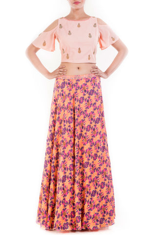 Peach Crop Top & Pineapple Print Skirt Front