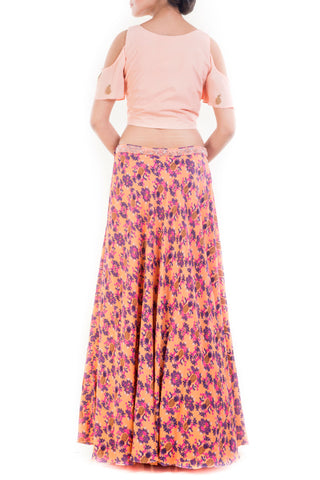 Peach Crop Top & Pineapple Print Skirt