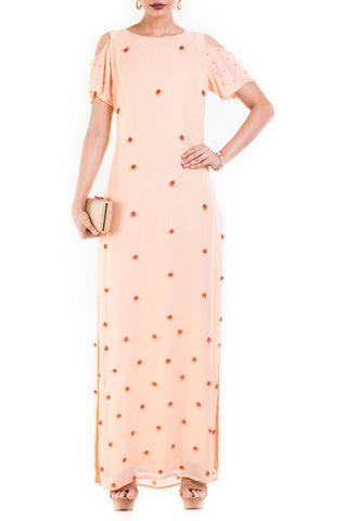 Light Peach Cold Shoulder Long Maxi With One Side Slit Front