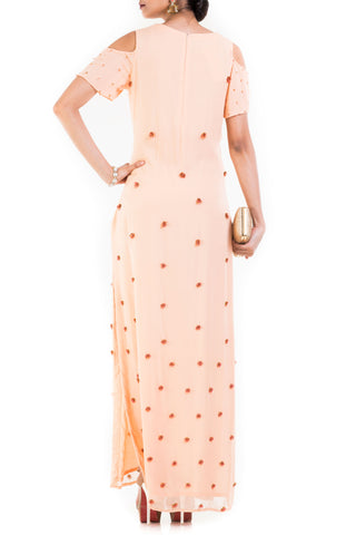 Light Peach Cold Shoulder Long Maxi With One Side Slit