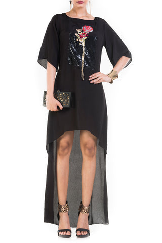 Black Short Long Tunic Dress With Box Sleeves Front