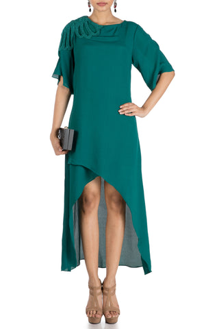 Pine Green Long Short Overlapping Tunic Front