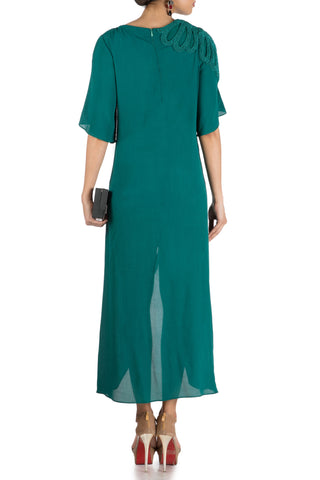 Pine Green Long Short Overlapping Tunic