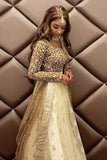 Banana Yellow Lehenga With Slate Grey Blouse & Grey Dupatta