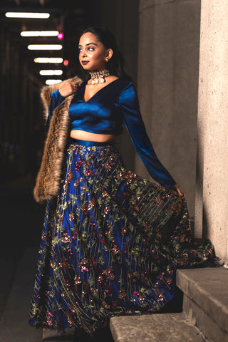 Navy Blue & Rosegold Floral Sequin Lehenga FRONT