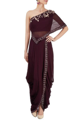 Plum Dhoti Skirt With One Shoulder Top Front
