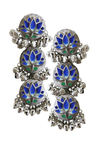 Lotus Enamel Danglers Blue