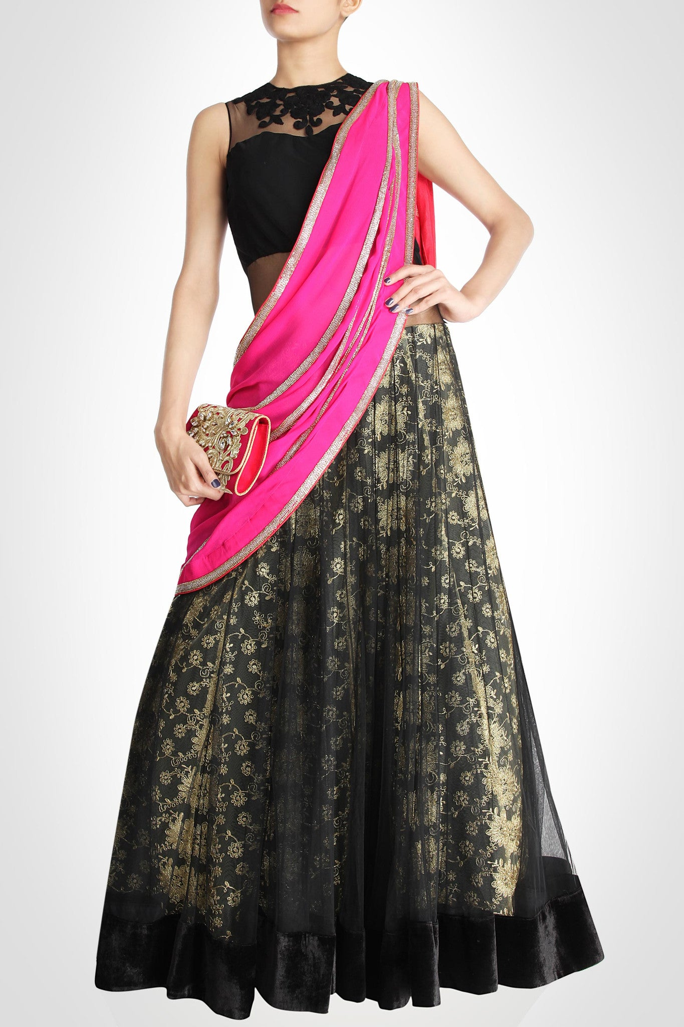 Black Lehenga with Red & Pink Dupatta