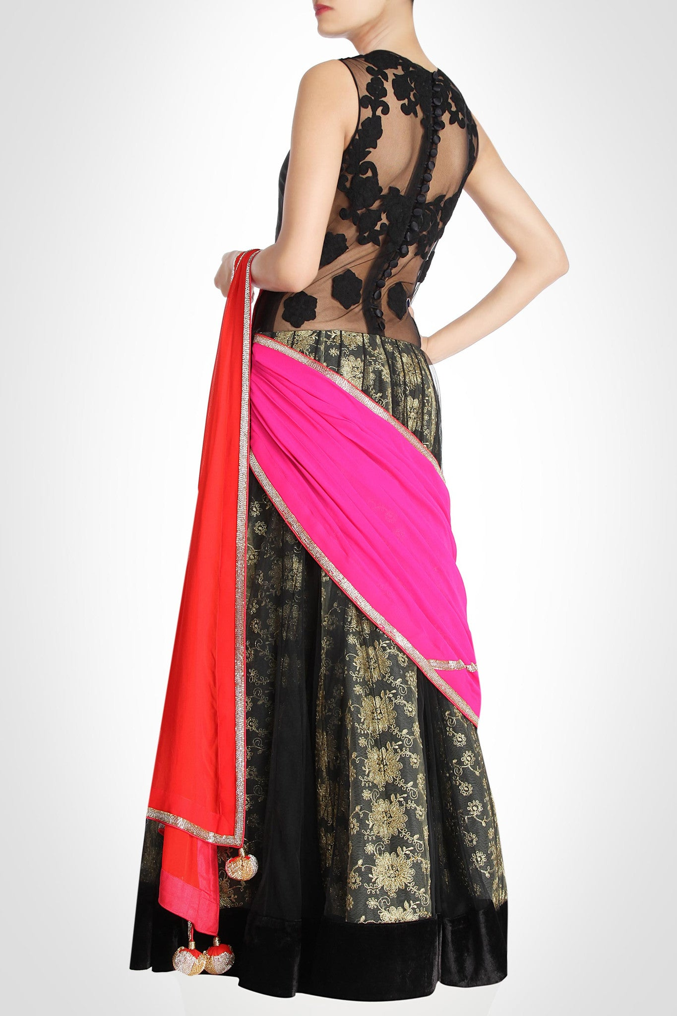 Black Lehenga with Red & Pink Dupatta Back