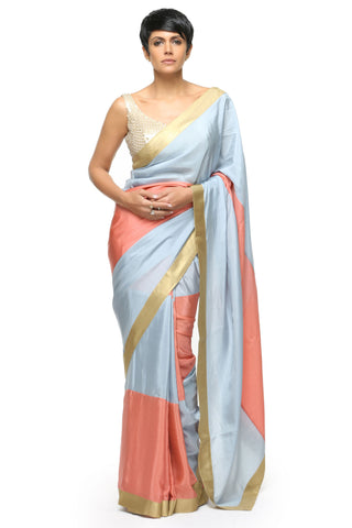 Salmon Pink & Light Blue Silk Saree Front