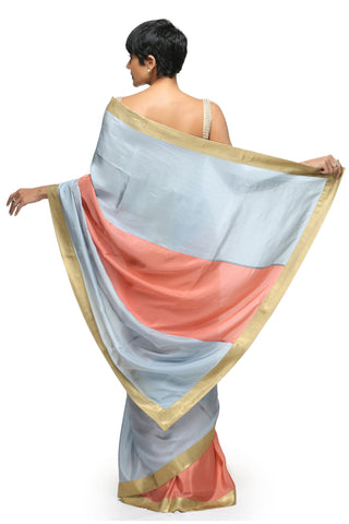 Salmon Pink & Light Blue Silk Saree