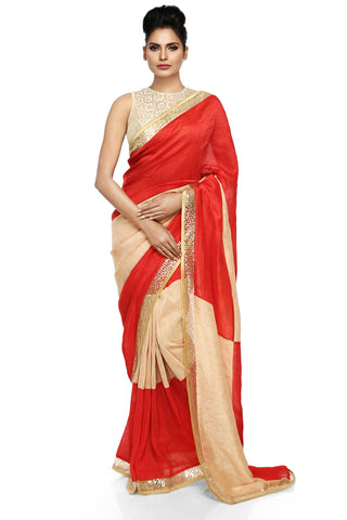 Red & Beige Linen Saree Front