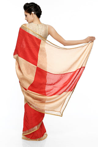 Red & Beige Linen Saree
