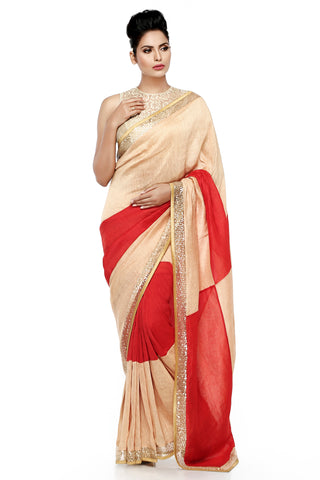 Beige & Red Linen Saree