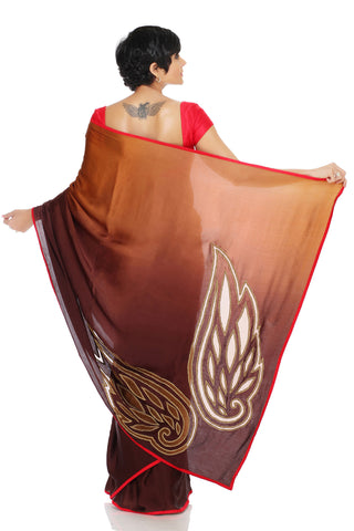Chocolate Brown Ombre Saree