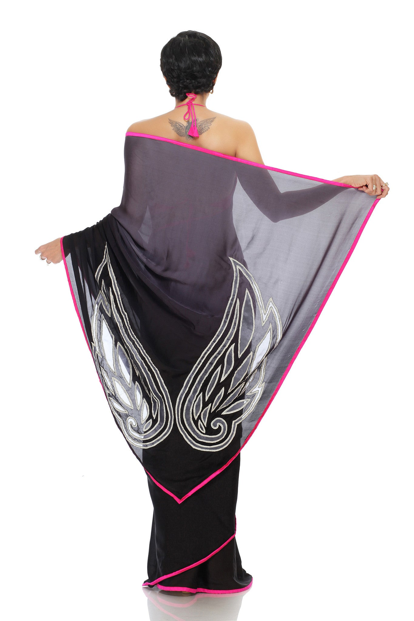 Slate Ombre Saree Back
