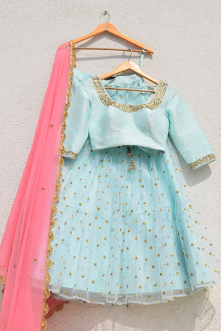 Light Turquoise Blue Layered Lehenga With Blouse & Pink Dupatta FRONT