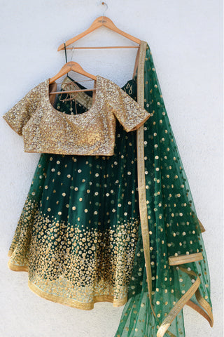 Forest Green Lehenga Set FRONT