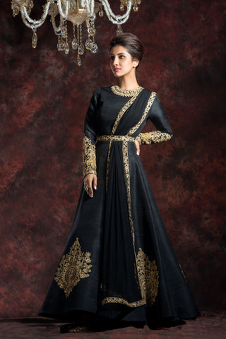 Black Band Gala Anarkali Gown