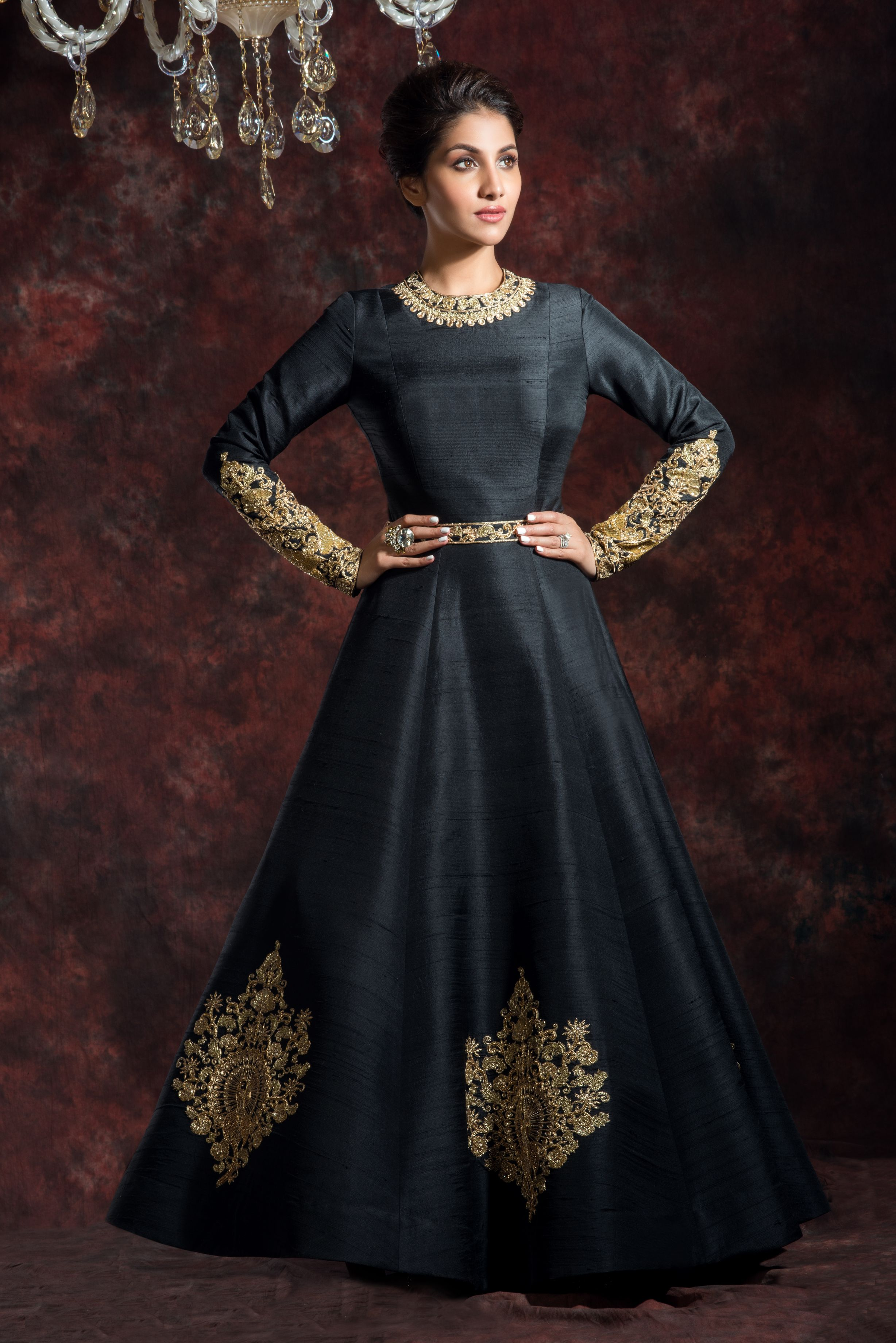 Black Band Gala Anarkali Gown FRONT