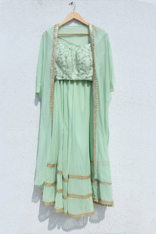 Mint Magic Crop Top With Cape & Palazzo Pant FRONT