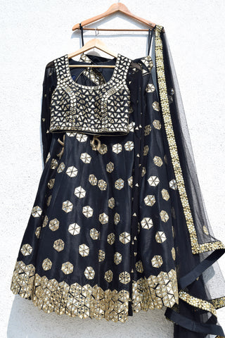 Black Mirror Work Lehenga Set