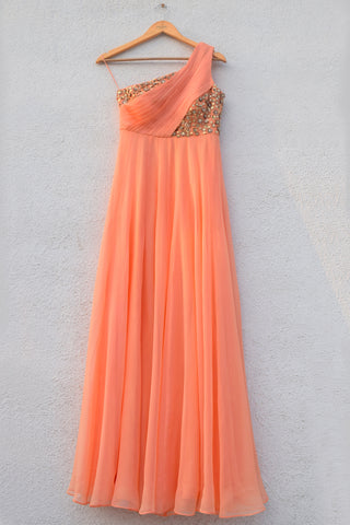 Peach One Shoulder Pleated Gown
