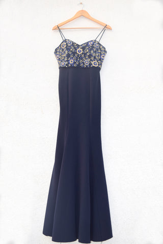 Midnight Blue Fitted Gown FRONT