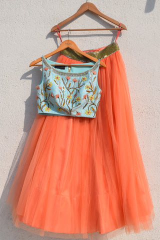 Coral Net Lehenga With Turquoise Blue Crop Top FRONT