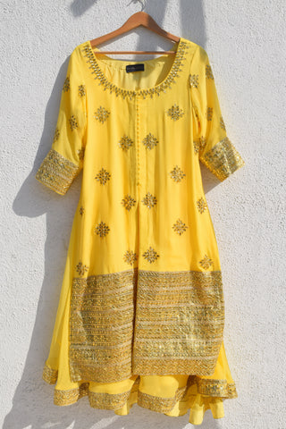 Lemon Yellow Gota Patti Kurta Lehenga Set FRONT