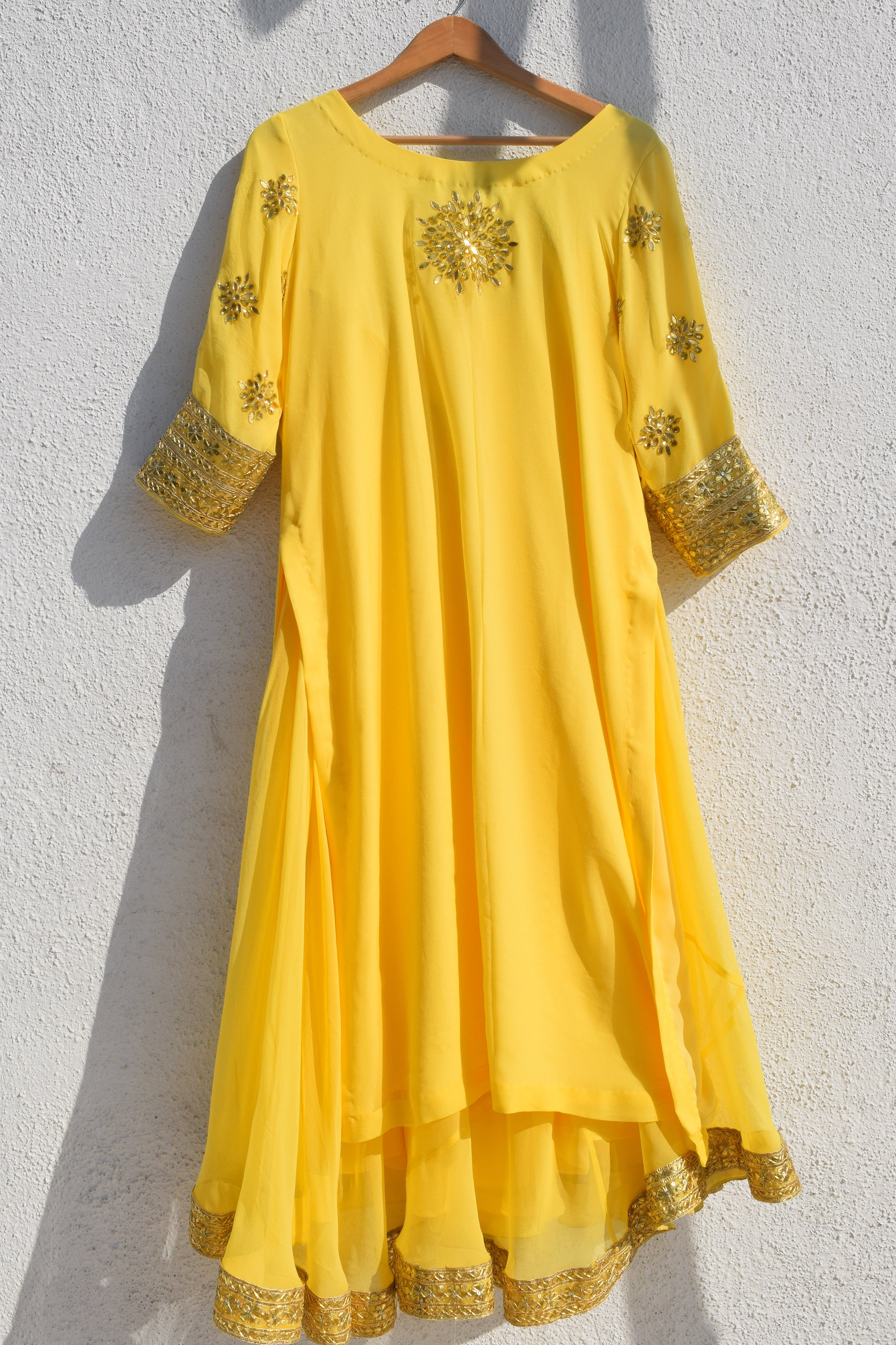 Lemon Yellow Gota Patti Kurta Lehenga Set BACK