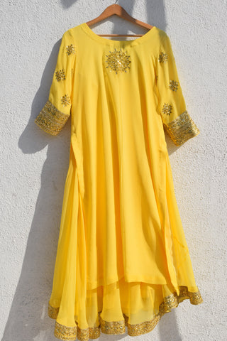 Lemon Yellow Gota Patti Kurta Lehenga Set