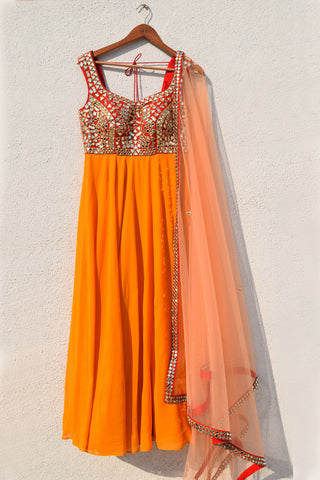 Mango Yellow Anarkali With Red Mirror Work Yoke & Peach Dupatta
