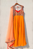 Mango Yellow Anarkali With Red Mirror Work Yoke & Peach Dupatta BACK