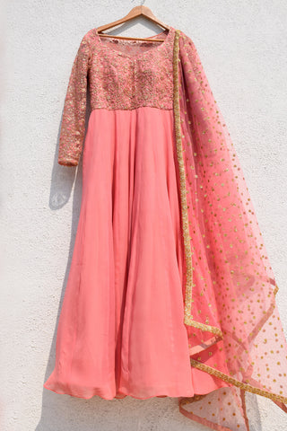 Warm Pink Anarkali Set FRONT