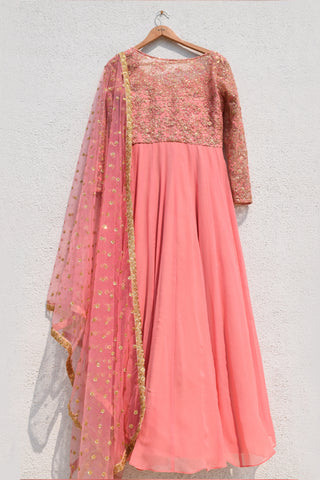 Warm Pink Anarkali Set