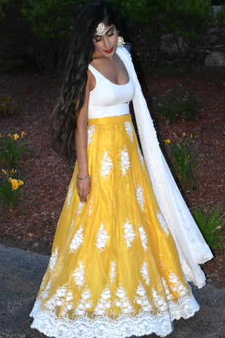 Embroidered Chiffon Yellow And White Lehenga SIDE