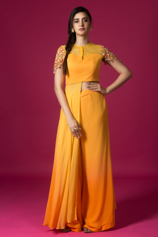 Yellow And Tangerine Shaded Palazzo Set FRONT
