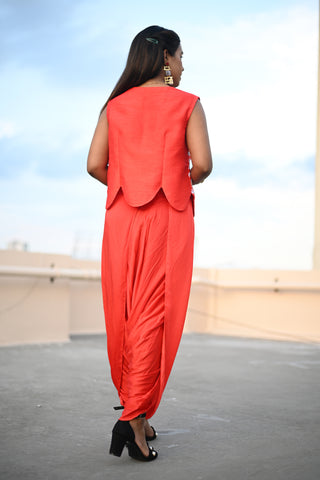 Red Dhoti Pant Set