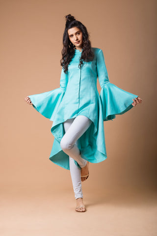 Bell Sleeved Low High Powder Blue Jacket