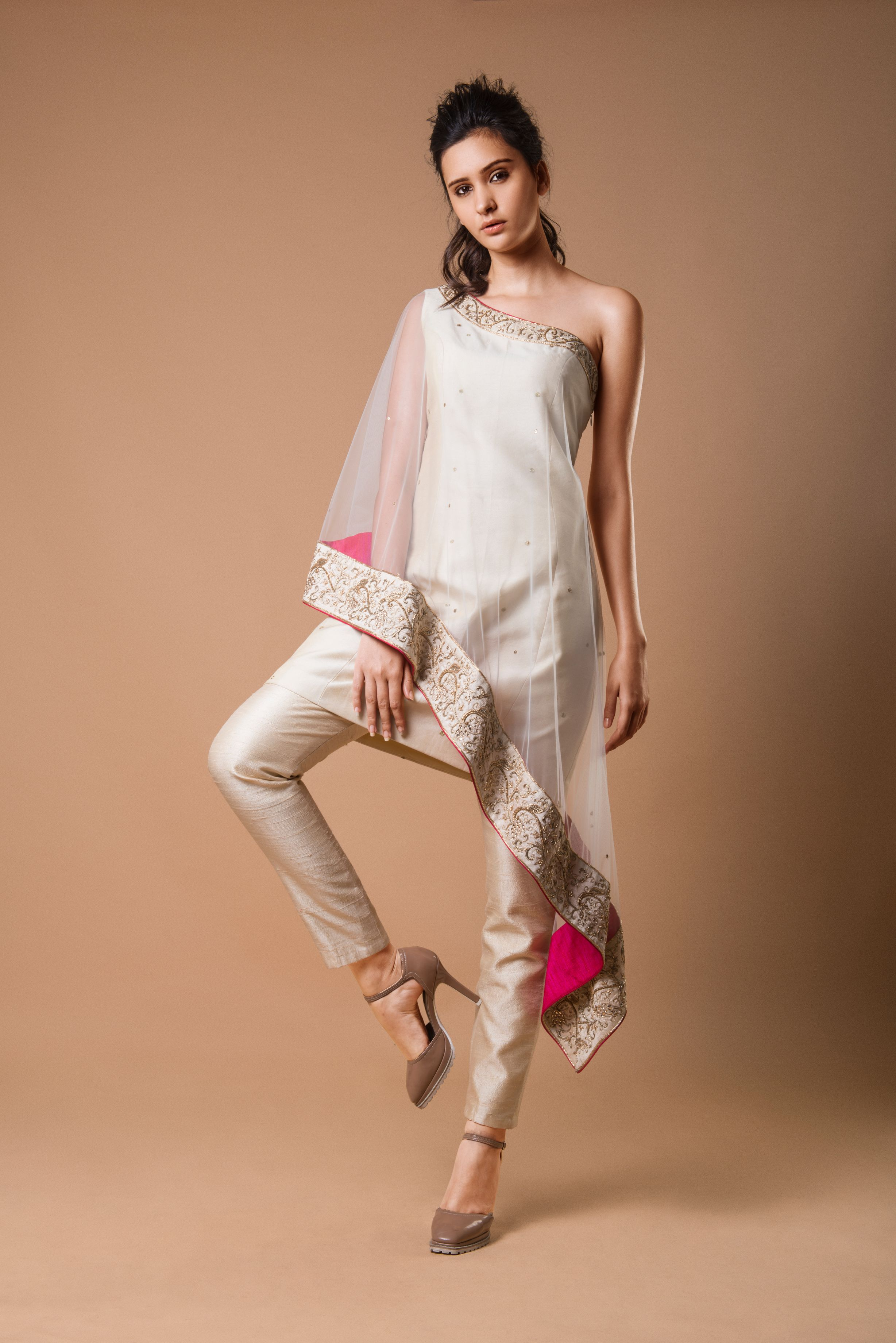 One Shoulder Ivory Low High Tunic With Straight Pants SIDE