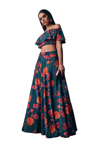 Green Floral Print Off Shoulder Ruffle Top Lehenga Set