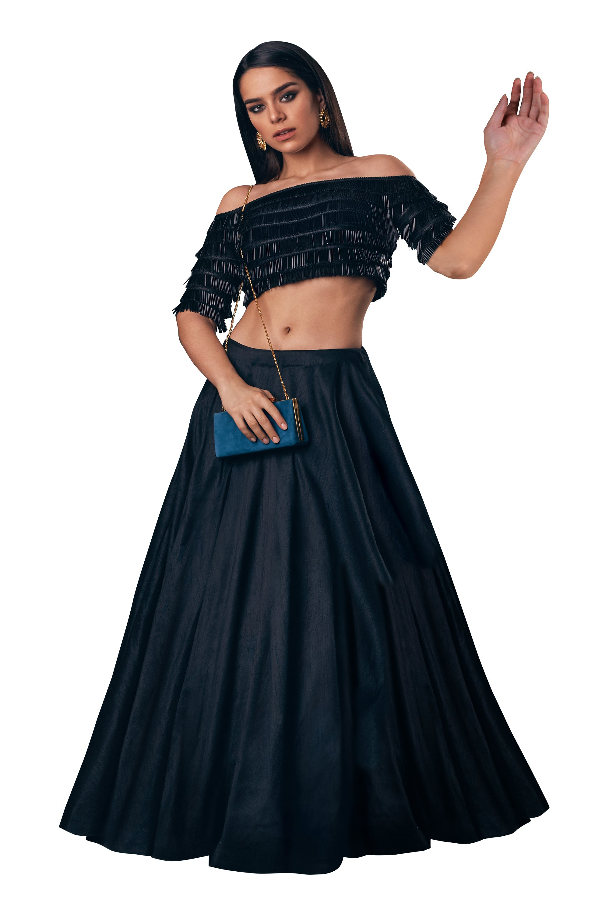 Off Shoulder Black Tassel Blouse With Black Round Flare Skirt Party Lehenga Set FRONT