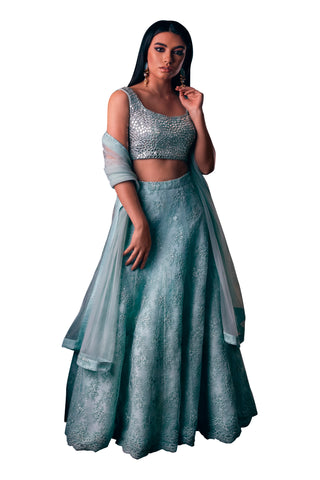 Mint Mirror Sleeveless Blouse With Mia Lace Mint Skirt And Dupatta FRONT