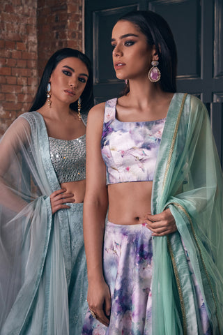 Sleeveless Blue & White Humming Bird Print Top & Round Flare Skirt Lehenga Set