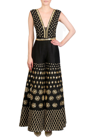 Black Jumpsuit Embellished With Gold Sequins, Mirrors & Embroidered Belt FRONT