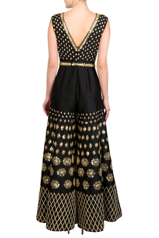 Black Jumpsuit Embellished With Gold Sequins, Mirrors & Embroidered Belt
