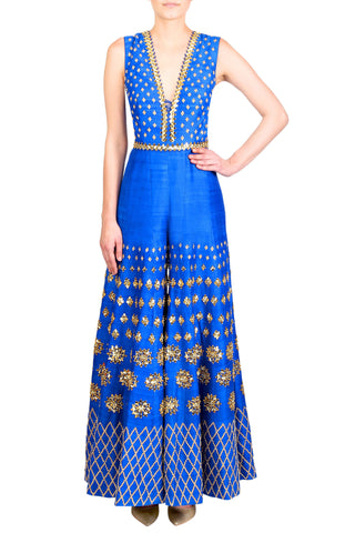 Electric Blue Raw Silk Jumpsuit With Mirrors & Sequined Embroidered Belt FRONT